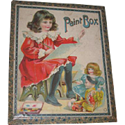 CHARMING Doll Motif Antique German Lithographed Wooden Children's Paint Box w/Original Contents!