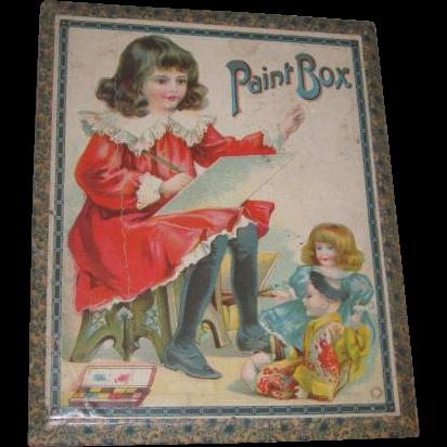 CHARMING Doll Motif Antique German Lithographed Wooden Children's Paint Box w/Original Contents!
