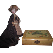 GORGEOUS Large Fancy Antique Victorian Celluloid Presentation Box for Mignonette/All Bisque Doll Display!