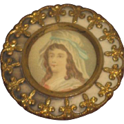 EXQUISITE Large Vintage French Fleur-de-Lis Enameled Ormolu Portrait Button!