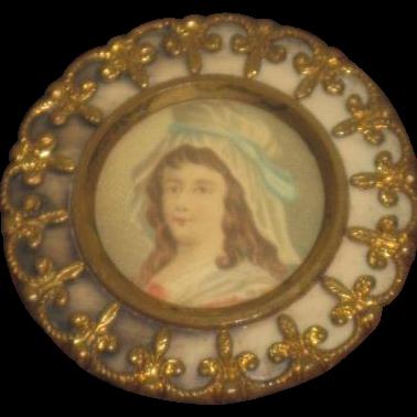 EXQUISITE Large Vintage French Fleur-de-Lis Enameled Ormolu Portrait Button!