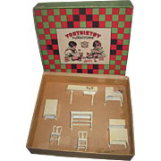 RARE 1920's 8 Piece Tootsie Toy Miniature Cream Enamel Dollhouse Kitchen Set in Original Box!