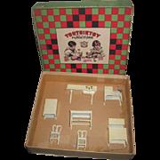 RARE 1920's 8 Piece Tootsie Toy Miniature Cream Enamel Dollhouse Kitchen Set in Original Box!