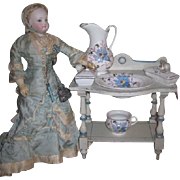 MAGNIFICENT Antique French Miniature Hand Stenciled Fashion Doll Toilette Table with Original Porcelain Set!