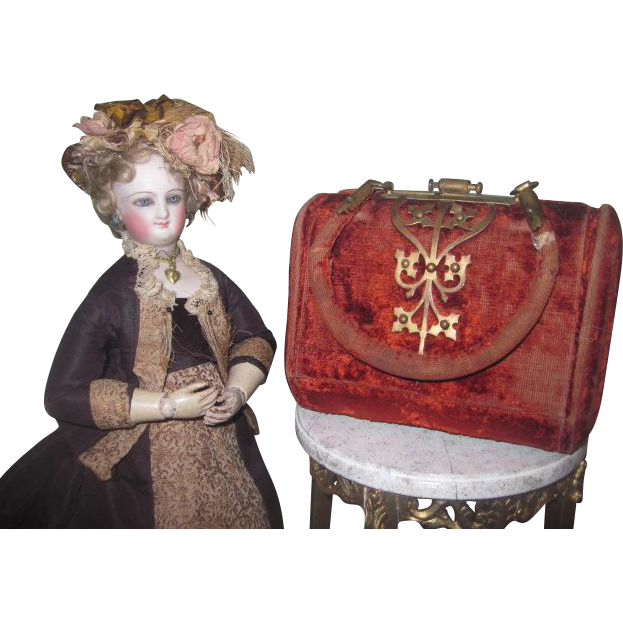 EXQUISITE Antique Victorian Miniature Sewing Valise Etui with Original Contents!