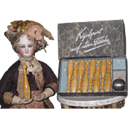 NOVELTY Rare Antique German Miniature Nine Pin Toy Table Top Bowling Game for FASHION DOLLS!