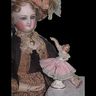 Hard to Find TINY Antique German Miniature Dresden Porcelain Ballerina Figurine for FASHION DOLLS!