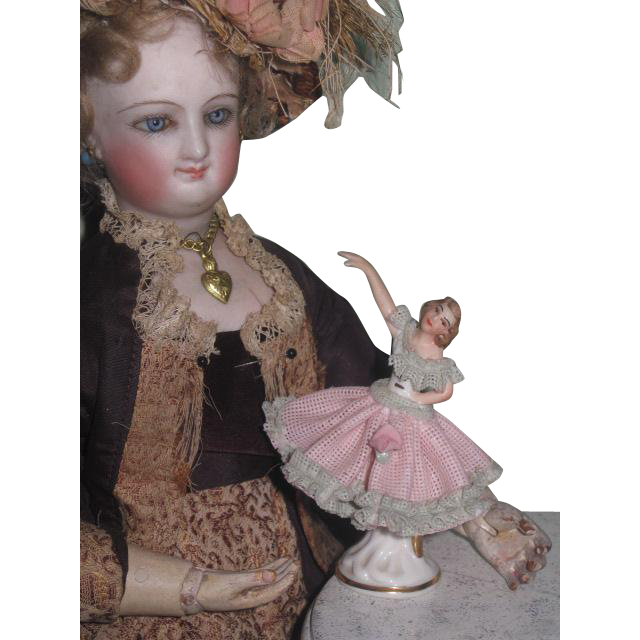 Hard to Find TINY Antique German Miniature Dresden Porcelain Ballerina Figurine for FASHION DOLLS!