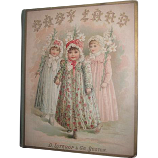 """RARE and CHARMING Antique Victorian Circa 1880's Illustrated """"Babyland"""" Children's Book~Great Lithograph Cover!"""