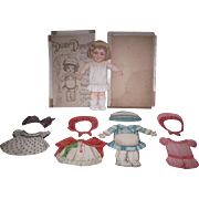 """RARE and CHARMING Antique German """"Dolly Dimples"""" Paper Doll Set in Original Box!"""