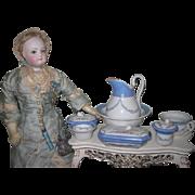 EXQUISITE Antique French Porcelain 7 Piece Miniature Toilette Set for FASHION DOLLS!