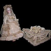 MAGNIFICENT Antique Miniature Wedding Vitrine Heirloom Box for DOLL DISPLAY!