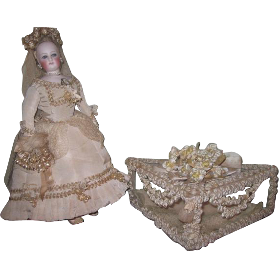 MAGNIFICENT Antique Miniature Wedding Vitrine Heirloom Box for DOLL DISPLAY!
