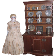 CHARMING Fully Appointed Vintage Miniature Stepback Doll Cupboard/Hutch with Antique Accessories!