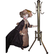 FABULOUS HTF Vintage Miniature Salesman Sample Brass Coat Rack for FASHION DOLL Display!
