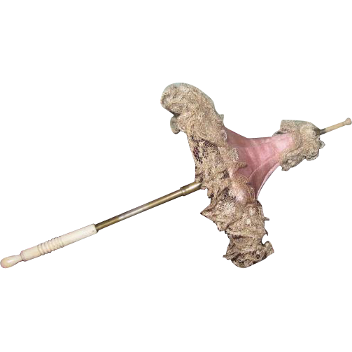 VERY Rare and Elusive Antique French Fashion Doll Pink Silk/Lace PAGODA PARASOL!