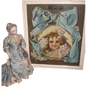 EXQUISITE Large Antique Victorian Lithograph Advertising Print with CHILD & KITTENS Motif!