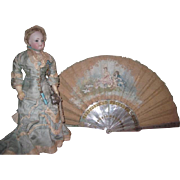SPECTACULAR Elaborate Antique Hand Painted Mother-of-Pearl Lady's Hand Fan for DOLL DISPLAY!