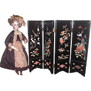 ELABORATE Vintage Miniature Hand Carved Folding Screen for FASHION DOLL Salon!