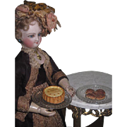 DELECTABLE Fashion Doll Set of Antique Composition Miniature Desserts with Fancy Glass Platters!