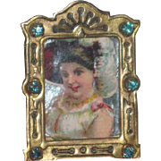 "TINY Antique Miniature ""Jeweled"" Brass Decorative Frame for FASHION DOLL's Vanity!"