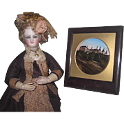 CHARMING Antique Miniature Reverse Painting Souviner Picture for DOLL DISPLAY!