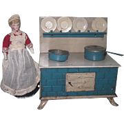 CHARMING Antique German Blue Enameled Miniature Toy Tin Stove with Original Accessories!