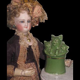 RARE Antique C.D. Kenny Miniature Figural Kitten Porcelain Match Holder Advertising Novelty!