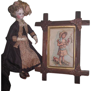 CHARMING Rare Antique C.D. Kenny Company Framed Lithograph Advertising Trade Card of Girl with Doll!