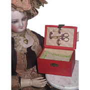 HOLIDAY SALE!  Rare Antique Miniature French Fashion Doll Sewing Etui with Original Contents!