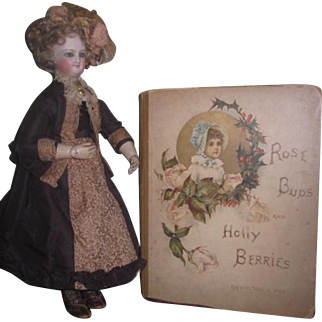 """Rare Antique Raphael Tuck & Sons Chromograph Ilustrated """"Rose Buds and Holly Berries"""" Children's Book!"""