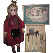 "RARE Vintage 1920's Set of ""Mother's Little Helper"" Toy Kitchen Utensil Set in Original Box!"