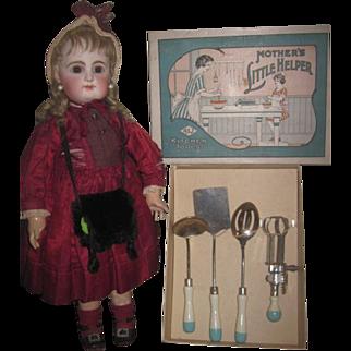 "RARE Vintage 1920's Set of ""Mother's Little Helper"" Toy Kitchen Utensil Set in Original Box!"