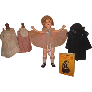 """FABULOUS 22"""" Ideal 1930's Composition Shirley Temple Doll With Original Wardrobe~AMAZING WIG!"""