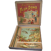 "RARE Antique J.W. Spears & Sons ""The Magnetic Fish Pond"" Lithograph Toy Game!"