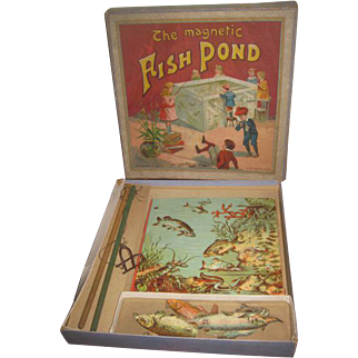 """RARE Antique J.W. Spears & Sons """"The Magnetic Fish Pond"""" Lithograph Toy Game!"""