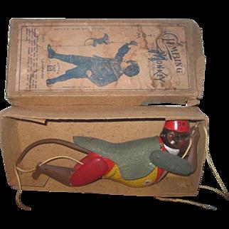 "Rare Antique German Lehmann Tin Lithograph ""Climbing Monkey"" Toy Monkey in Original Box!"