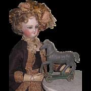 CHARMING Antique Miniature Tin Toy Horse on Wheeled Platform!