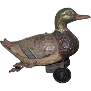 CHARMING Early Vintage Bavarian Painted Tin Wind-Up Duck Toy!