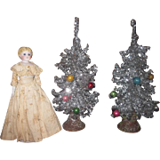 CHARMING :Pair of Miniature Vintage German Tinsel Trees for DOLL DISPLAY!