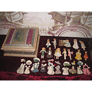 "ENCHANTING Set of Vintage ""Bisque"" Paper Dolls with Hand Painted Silk Presentation Box!"