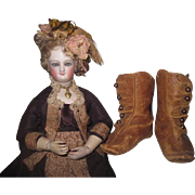 SUPERB Pair of Authentic Antique Leather Fashion Doll Boots Size 6 with BRASS BUTTONS!