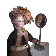 CHARMING HTF Antique Miniature German Tin Doll Toilette Table Shaving/Cheval Mirror for FASHION DOLLS!