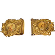EXQUISITE Hard to Find Antique French Miniature Ormolu Portrait Buckles for DOLL WARDROBE!