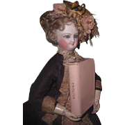 "CHARMING Complete Set of Vintage English Pink Leather ""Midget Dictionary"" Books for DOLL DISPLAY!"