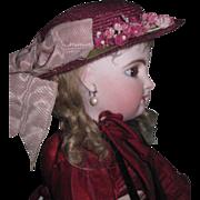 SUPERB Fancy Vintage Purple Straw Doll Hat with Milliner's Flowers!