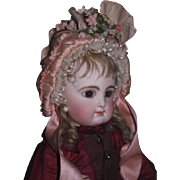 MAGNIFICENT Antique Pink Silk Ribbon Bonnet French Doll Bonnet for BRU or JUMEAU Bebe!