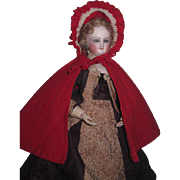 CHARMING Antique French Fashion Doll Fancy Hooded Red Cloak for HURET or ROHMER Poupee!