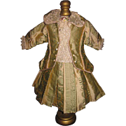 ELABORATE Bebe Bru/Jumeau Doll Seafoam Blue Brocade Couture Coat Dress!