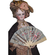 LOVELY Antique Hand Painted Silk & Bone French Fashion Doll Fan~AS FOUND!